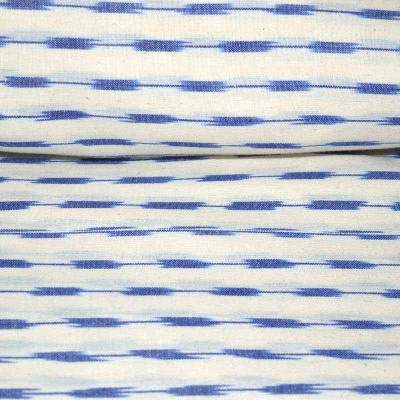 Beige and Blue Ikat Print Fabric