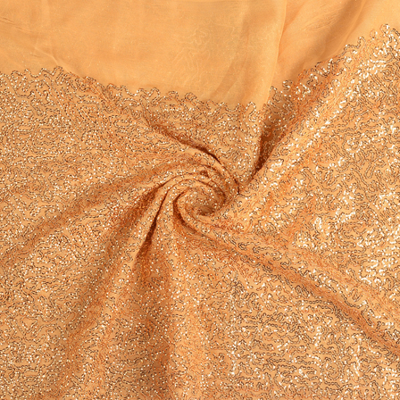 Beige and Golden Shiny Sequin Fabric-60646