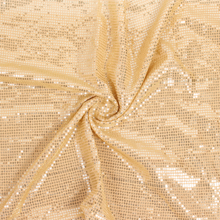 Beige and Golden Shiny Sequin Fabric-60811