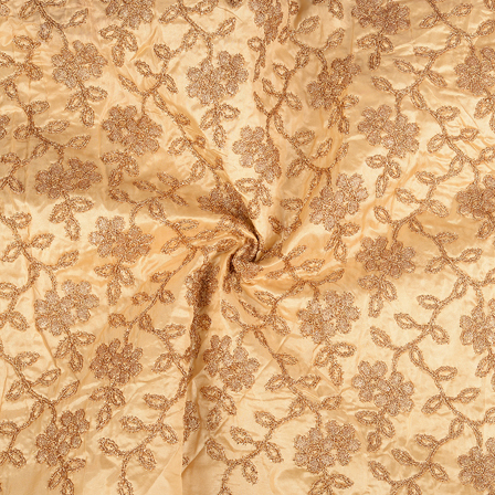 Beige and Golden leaf Design Paper Silk Embroidery Fabric-60599