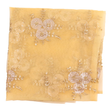 Beige and GoldenFlower Embroidery Net Fabric-60888