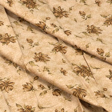 Beige and Green Flower Design Jam Cotton Silk Fabric-75031