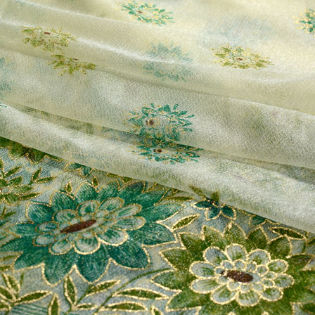 Beige and Green Flower Design Lycra Fabric-6514