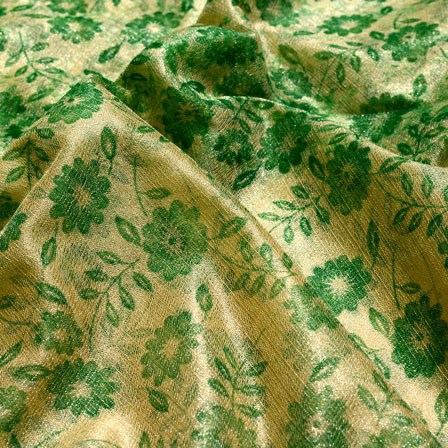 Beige and Green Flower Lycra Fabric-6517