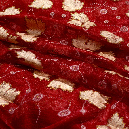 Beige and Maroon Leaf Pattern Lycra Fabric-6512