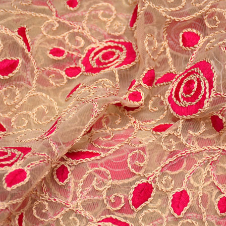 Beige and Pink Flower Design Embroidery Net Fabric-5278