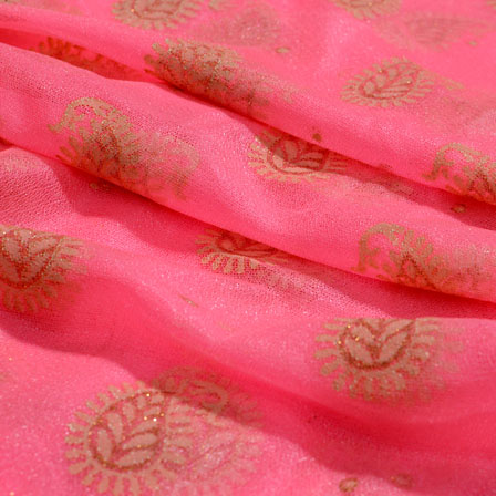 Beige and Pink Paisley Pattern Lycra Fabric-6511
