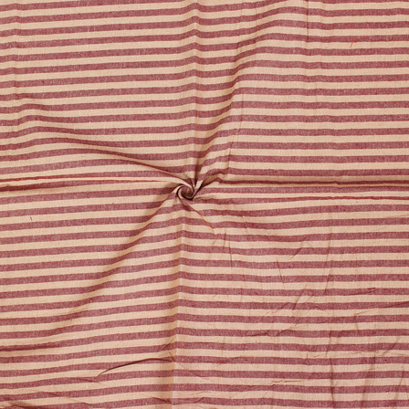 Beige and Red Lining Handloom Cotton Stripe Fabric-40003