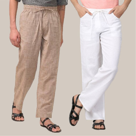 Combo of 2 Cotton Men Handloom Pant Beige and White-35961