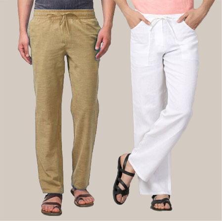 Combo of 2 Cotton Men Handloom Pant Beige and White-35963