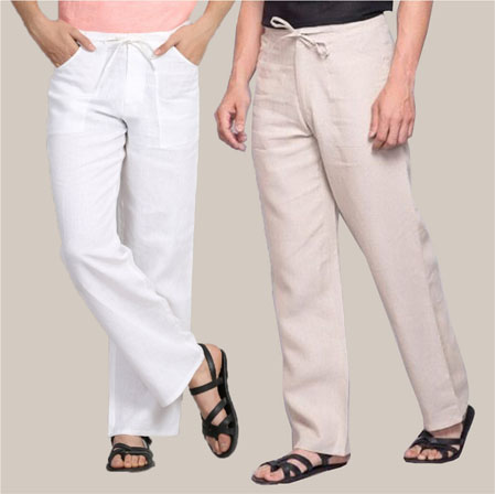 Combo of 2 Cotton Men Handloom Pant Beige and White-35980
