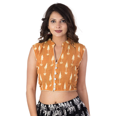 Beige and White Cut Sleeveless Cotton Ikat Blouse-30203