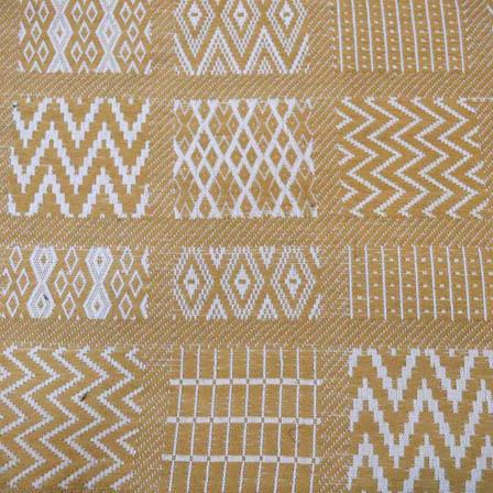 Beige  and White Zig Zag Pattern Cotton Jacquard Fabric-31010