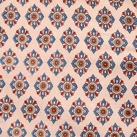 Beige and blue flower printed cotton kalamkari fabric 4500
