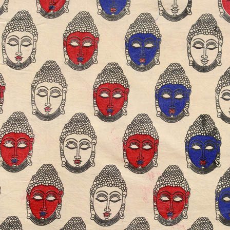 Beige-blue and red small Buddha Pattern Cotton Kalamkari Fabric 4484