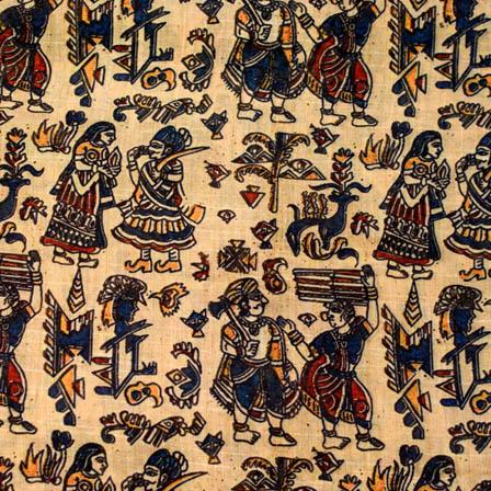 Beige rajasthani digital printed silk fabric-4899