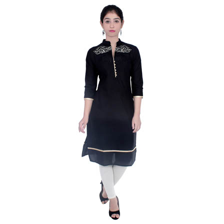 Black 3/4 Sleeve Embroidered Cotton Kurti-3035