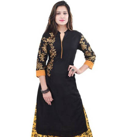 Black 3/4 Sleeve Embroidered Rayon Kurti-3077