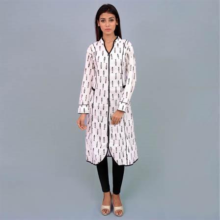 Black And White Cotton Kurti-22003
