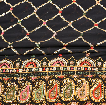 Black Beige Square Panel Work Georgette Silk Fabric-19220