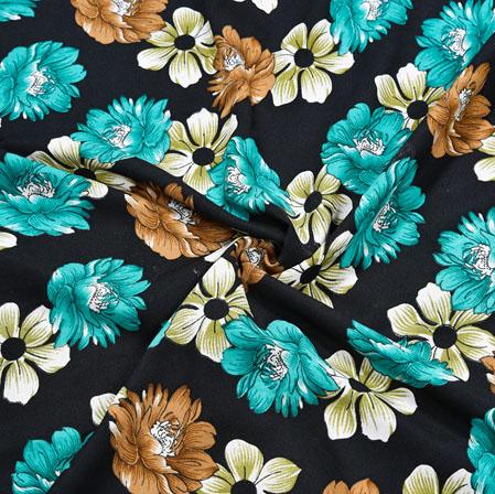 Black Blue Floral Crepe Silk Fabric-41145
