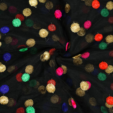 Black Blue Green and Golden Embroidery Silk Net Fabric-18641