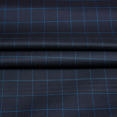 Black Blue Checks Wool Fabric-90213