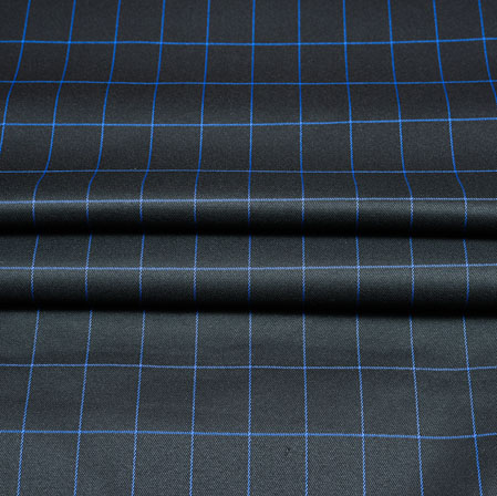 Black Blue Checks Wool Fabric-90245