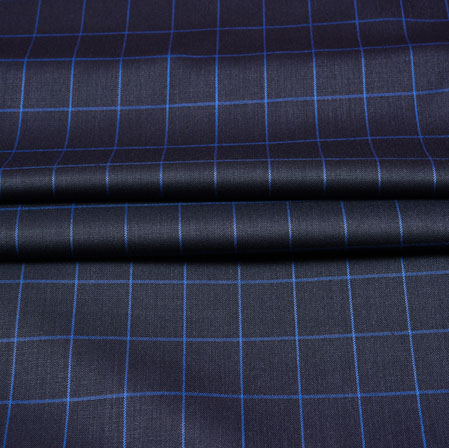 Black Blue Checks Wool Fabric-90249