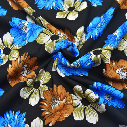 Black-Blue and Brown Flower Pattern Crepe Fabric-18015
