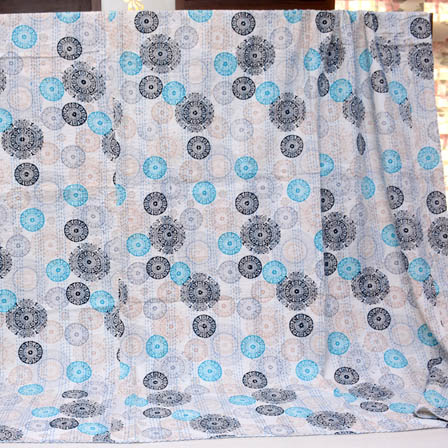 Black-Blue and Cream Handmade Circular Pattern Kantha Quilt-4368
