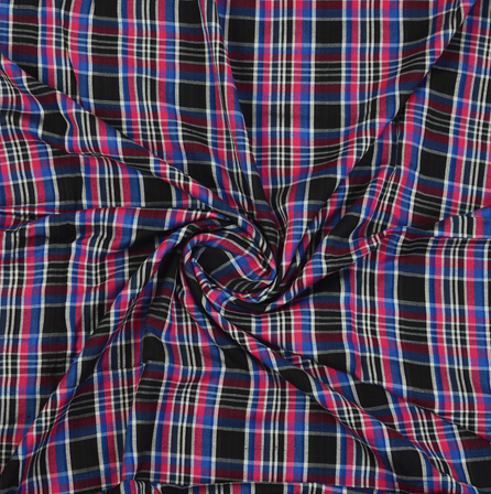 Black-Blue and Pink  Checks Cotton Handloom Khadi Fabric-40272