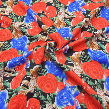 Black-Blue and Red Flower Design Crepe Fabric-18045