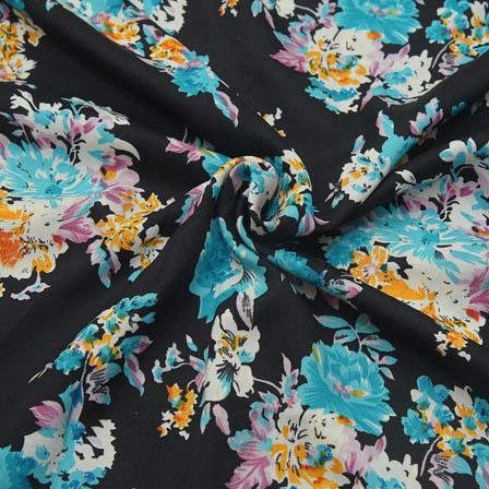 Black-Blue and White Flower Design Crepe Fabric-18068