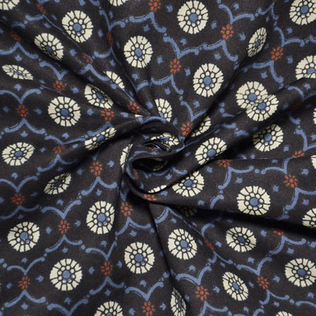 Black-Blue and White Flower Shape Ajrakh Block Print Fabric-14028