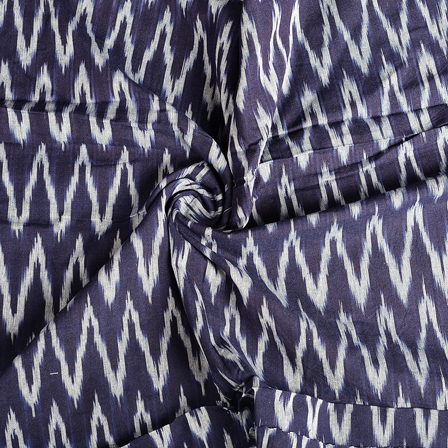 Black-Blue and White Zig Zag Cotton Ikat Fabric-12155