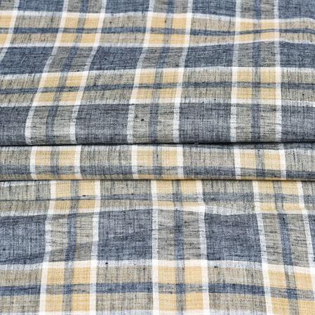 Black Brown Checks Handloom Cotton Fabric-42501