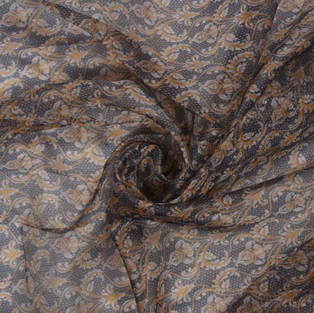 Black Brown Floral Organza Digital Fabric-22222