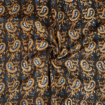 Black-Brown and Blue Paisley Design Kalamkari Cotton Block Print Fabric-14393