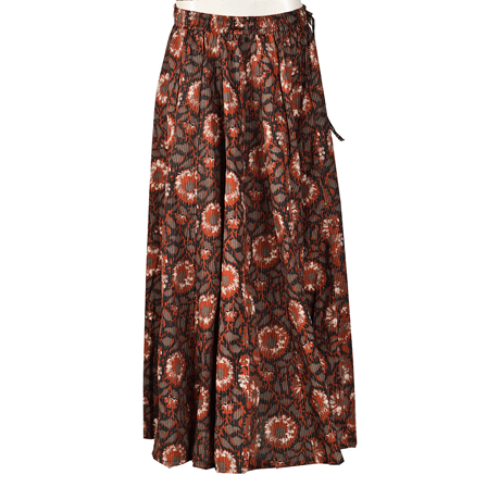 Black-Brown and Gray  Block Print Cotton Long Skirt-23068
