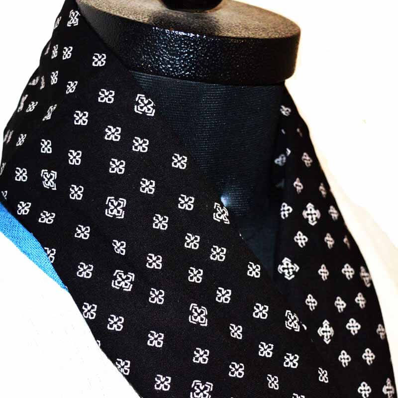 Black Color Scarf with White Motif Pattern