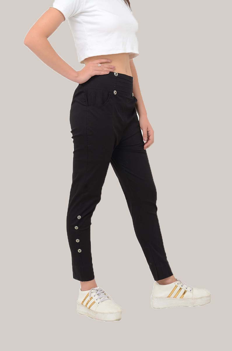 Black Cotton Lycra Roll Up Pant-33496