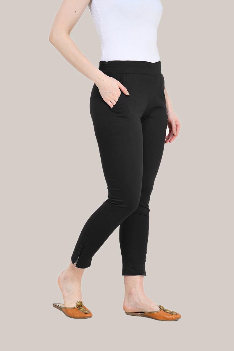 Black Cotton Lycra Trippy Pant-33506