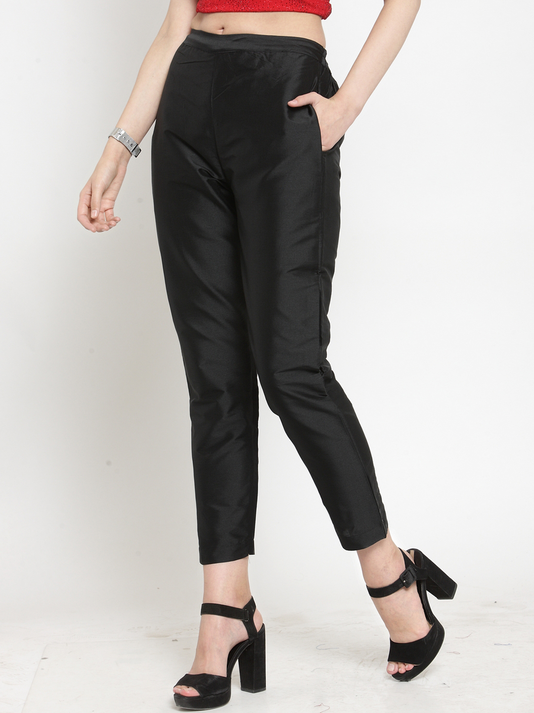 Black Cotton Silk Ankle Pant-34281