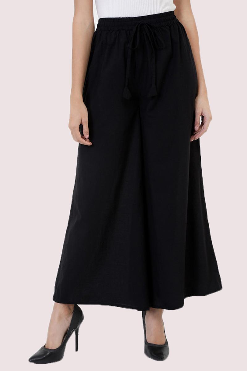 Black Cotton Solid Women Palazzo-33305