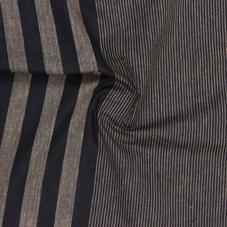 Black Cream Striped Handloom Khadi Cotton Fabric-40728