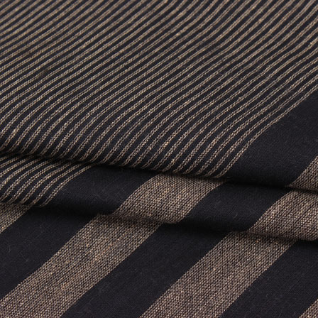 Cotton Shirt (2.25 Meter)-Black Cream Striped Handloom Khadi-140728