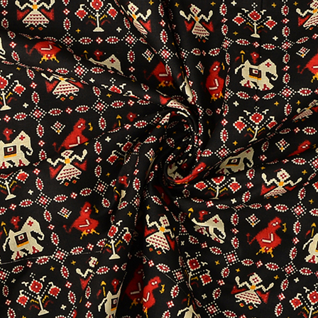 Black-Cream and Red Elephant Design Kalamkari Cotton Fabric-10072