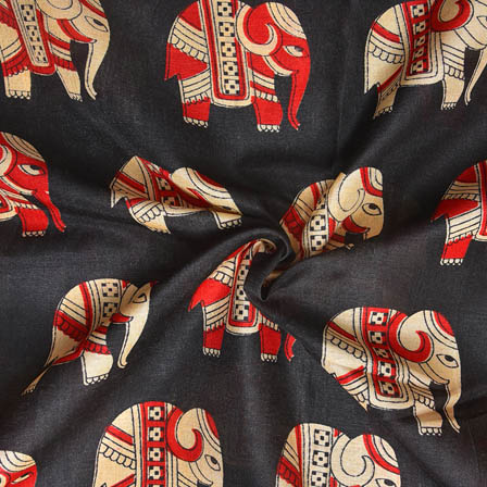 Black-Cream and Red Elephant Design Kalamkari Manipuri Silk-16041