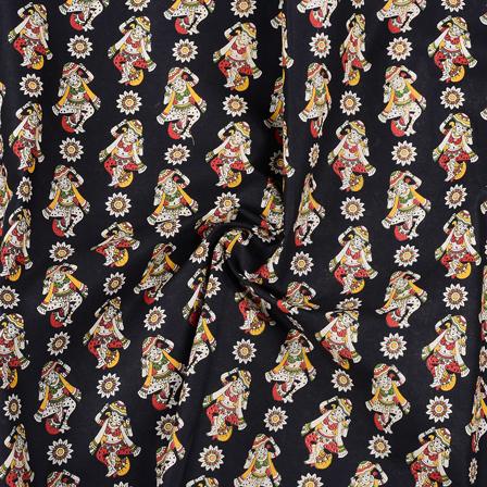 Black-Cream and Yellow Cotton Kalamkari Fabric-10153